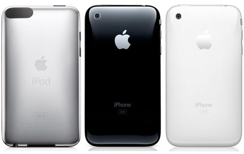 ipod touch 3g. Left - iPod touch 3G, Center & Right - iPhone 3G - Photo Credit: Apple, Inc.
